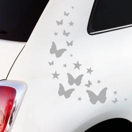 Autoaufkleber Schmetterlinge und Sterne