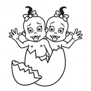 Babyaufkleber Nina & Jana