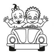 Babyaufkleber Lisa & Lara