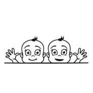 Babyaufkleber David & Noah